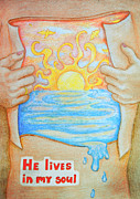 Life Of Christ Drawings Prints - He lives in my soul Print by Yelena Kochetova