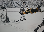 Goalie Painting Framed Prints - He Scores Framed Print by Betty-Anne McDonald
