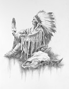 Native Chief Drawings - He Who Seeks A Vision by Kim Lockman