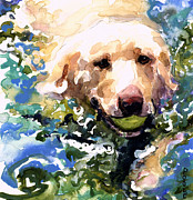 Yellow Lab Paintings - Head Above Water by Molly Poole