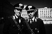Police Officers Posters - head and shoulders of Two Arma Dei Carabinieri Italian police officers on duty in Piazza Venezia Rom Poster by Joe Fox