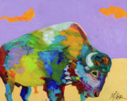Wild Animals Paintings - Head Down Horns Up by Tracy Miller