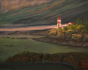 Head Harbour Lighthouse Paintings - Head Harbour East Quoddy Light close crop by Alison Barrett Kent