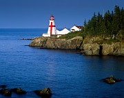 Head Harbour Lighthouse Prints - Head Harbour Lighthouse at sunset Print by Larry Knupp