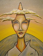 Otherworldly Painting Prints - Head in the Clouds Print by Janine Cooper Ayres