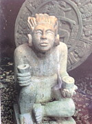 Mayan Paintings - Head of a Mayan God by Yucatan sculpture Nando