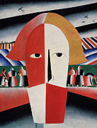 Russia Paintings - Head of a Peasant by Kazimir  Malevich