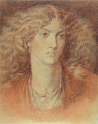 Frontal Drawings Metal Prints - Head of a Woman called Ruth Herbert Metal Print by Dante Charles Gabriel Rossetti