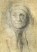 Michelangelo Drawings Posters - Head of a Woman Poster by Michelangelo Buonarroti
