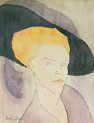 Feather Posters - Head of a Woman wearing a hat Poster by Amedeo Modigliani