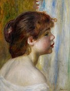 Renoir Framed Prints - Head of a young woman Framed Print by Pierre Auguste Renoir