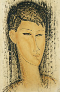 Dark   Hair Framed Prints - Head of a Young Women Framed Print by Amedeo Modigliani