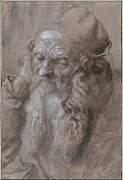 Art Historical Drawings Prints - Head of an Old man Print by Albrecht Durer