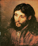 Rembrandt Paintings - Head of Christ by Rembrandt Van Rijn