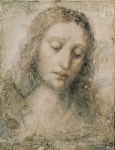 Drawings Photos - Head Of Christ The Redeemer. 16th C by Everett