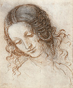 Leda Prints - Head of Leda Print by Leonardo da Vinci
