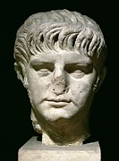 Marble Statue Sculpture Prints - Head of Nero Print by Anonymous