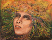 Indian Pastels Prints - HeadDress Print by Debra Lynn Birchell