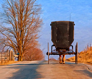 Amish Buggy Paintings - Headed Home by Michael Pickett