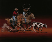 Heeler Paintings - Headin and Heelin by Hugh Blanding