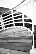 Wooden Stairs Prints - Heading Down in Monochrome Print by Anne Gilbert