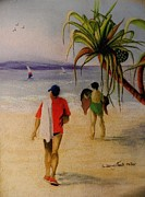 People Pastels Framed Prints - Heading for a swim Framed Print by Sandra Sengstock-Miller