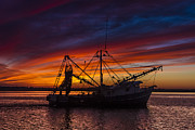 Shrimp Boat Prints - Heading Home Print by Debra and Dave Vanderlaan