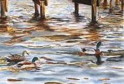 Ducks Paintings - Heading Home by Kyong Burke