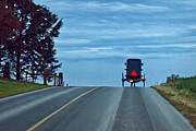 Horse And Buggy Digital Art Prints - Heading Home Print by Priscilla Burgers
