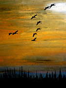 Canadian Geese Pastels - Heading Into Gold by R Kyllo