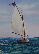 Catboat Framed Prints - Heading Out Framed Print by Karol Wyckoff