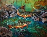 Fish Tapestries - Textiles Posters - Heading Upstream Poster by Sue Duda