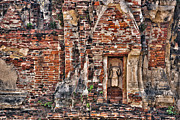 Ayutthaya Prints - Headless Buddha on the Ruin Walls Print by Paul W Sharpe Aka Wizard of Wonders