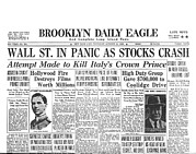 Headlines Posters - Headlines For Wall St. Crash Poster by Underwood Archives