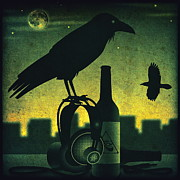 Cans Digital Art Prints - Headphone Raven Print by Milton Thompson