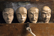 Carve Framed Prints - Heads of wooden puppets Framed Print by Bernard Jaubert