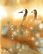 Waterfowl Paintings - Heads Up by Alison Nicholls