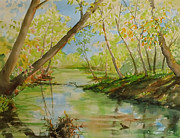 Peaceful Scene Paintings - Headwaters by Jan Finn-Duffy