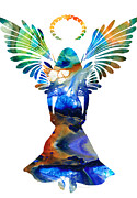 Guardian Angel Metal Prints - Healing Angel - Spiritual Art Painting Metal Print by Sharon Cummings