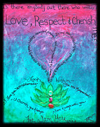 Heart Chakra Paintings - Healing Art - Love Respect and Cherish Me? by Absinthe Art By Michelle LeAnn Scott