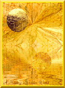Mental Functions Posters - Healing In Golden World Poster by Ray Tapajna