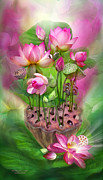 Pink Lotus Framed Prints - Healing Lotus - Crown Framed Print by Carol Cavalaris
