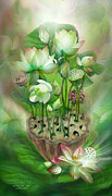 Green Chakra Prints - Healing Lotus - Heart Print by Carol Cavalaris
