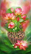 Healing Art Mixed Media Framed Prints - Healing Lotus - Root Framed Print by Carol Cavalaris