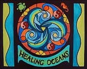 Turquoise Stained Glass Painting Prints - Healing Oceans Print by Janet McDonald