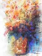 Abstract Vase Flower Print Posters - Healing with Blue Poster by Chrisann Ellis