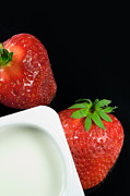 Tableware Digital Art - Healthy breakfast - Fresh red strawberry and yogurt by Gordan Poropat