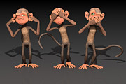 Chimpanzee Digital Art - Hear No Evil - See No Evil - Speak No Evil - Three Wise Monkeys by Liam Liberty