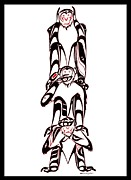 Pole Drawings - Hear no Evil Speak no Evil See no Evil totem by Speakthunder Berry