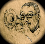 Trumpet Player Drawings - Hear the Music by Linda Simon